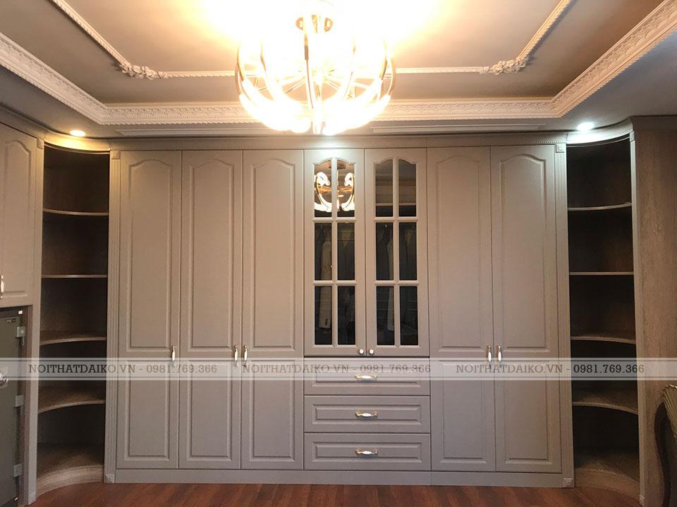 Tủ quần áo phòng thay đồ gỗ Plywood, khắc CNC, phủ PVC phong cách tân cổ điển