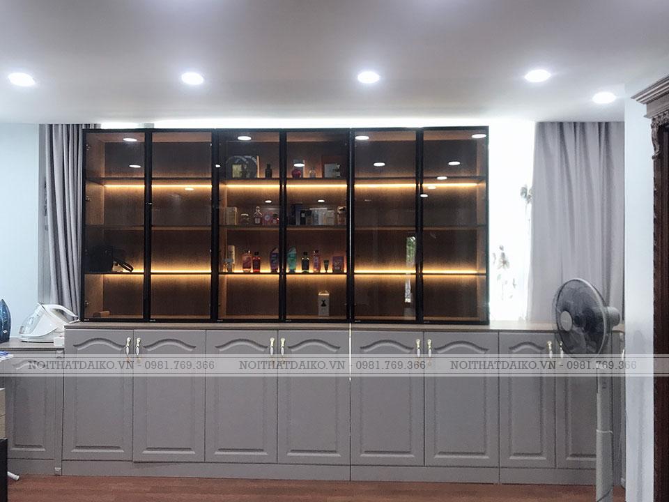 Tủ trang trí kết hợp cánh gỗ Plywood phủ PVC và cánh kính khung nhôm