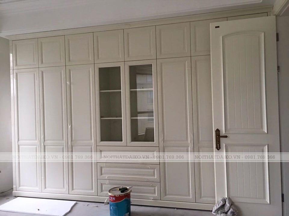 Tủ quần áo dùng toàn gỗ HDF cánh khắc CNC phủ PVC chống ẩ