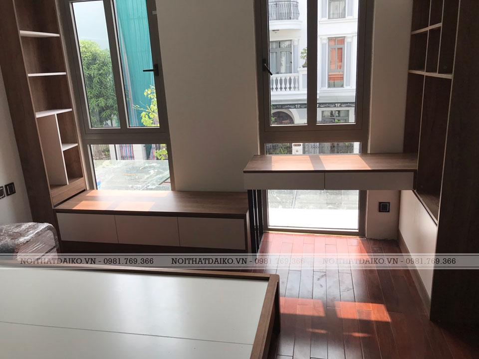 Phòng ngủ làm toàn bộ bằng gỗ Plywood tiêu chuẩn Châu Âu, sử dụng keo E0 bảo vệ sức khỏe