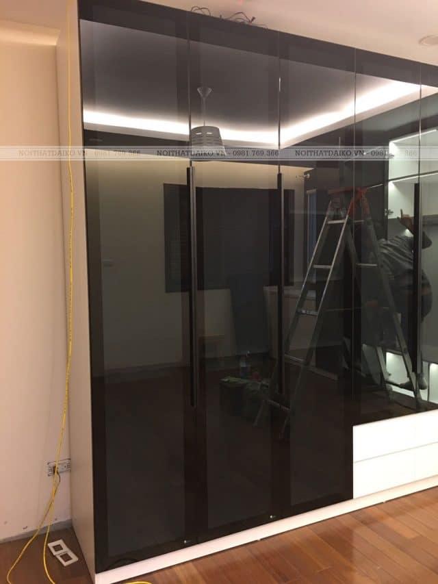 Tủ quần áo cánh kính cửa mở, khung nhôm 55mm
