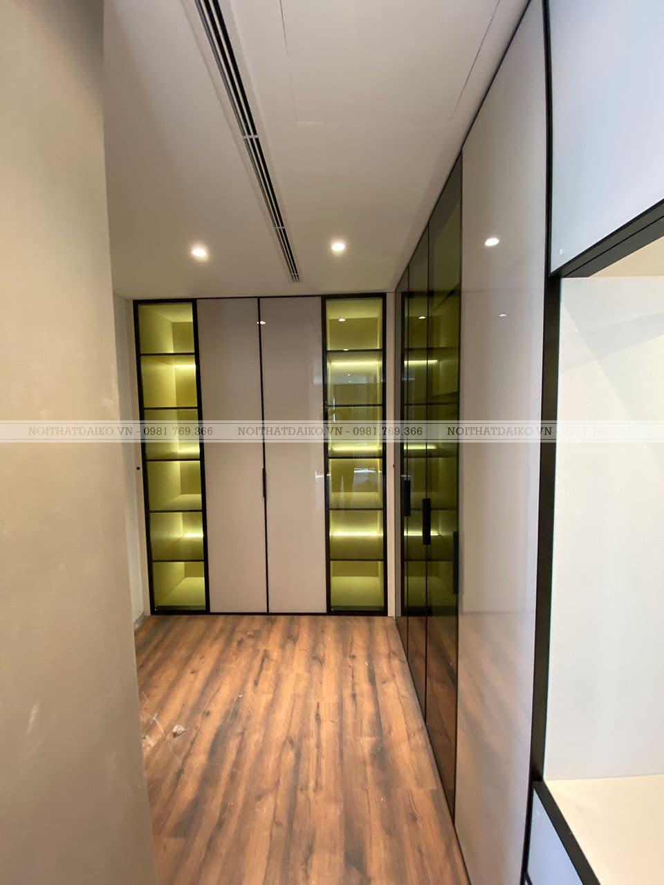 Tủ áo cánh kính bản nhôm 24 cửa mở bản lề treo trên dưới