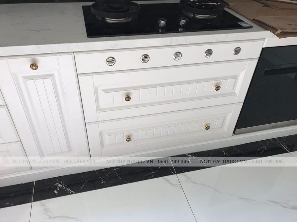 Tủ bếp dùng gỗ Plywood khắc CNC phủ PVCTủ bếp dùng gỗ Plywood chịu ẩm